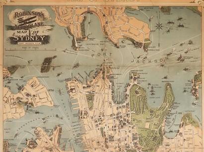 Stará mapa města Sydney